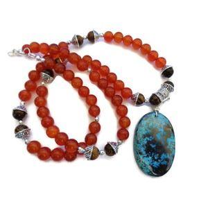 Carnelian, Azurite, Tiger Eye Necklace